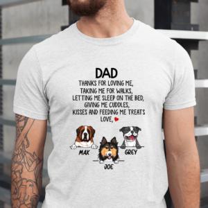 Personalized Dad Thanks For Loving Me Taking Me For Walks Custom Dog Men Shirt