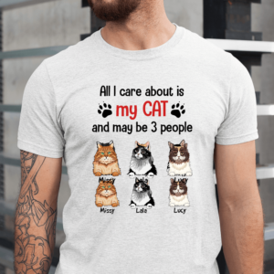 Personalized All I Care About Is My Cat And May Be 3 People Custom Cat Men Shirt