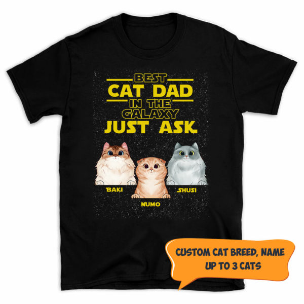 Personalized Best Cat Dad In The Galaxy Father's Day Custom Cat Shirt
