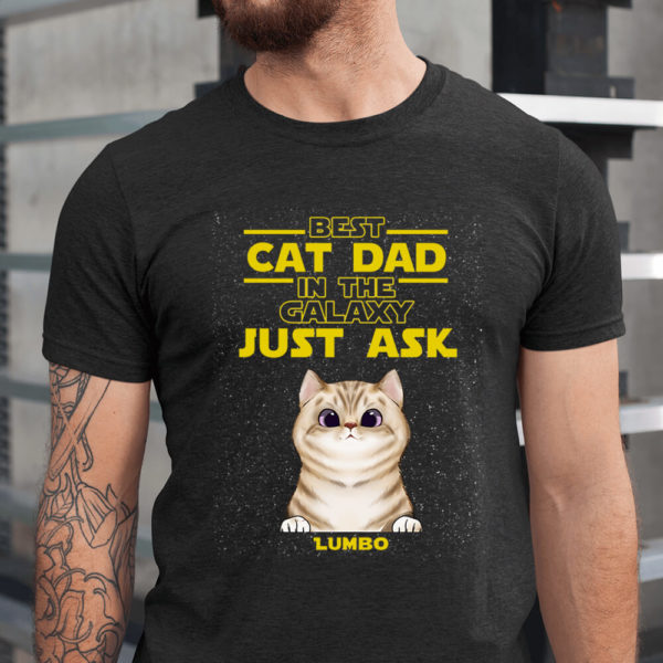 Personalized Best Cat Dad In The Galaxy Fathers Day Custom Cat Shirt1