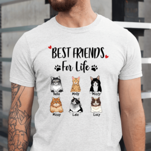 Personalized Best Friend For Life Cat Heart Paw Custom Cat Men Shirt