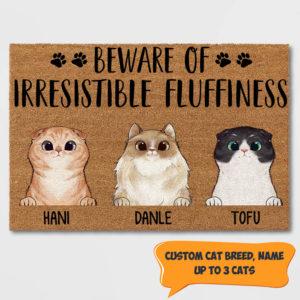 Personalized Beware Of Irresistible Fluffines Custom Cat Doormat