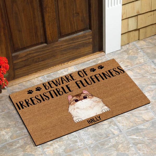 Personalized Beware Of Irresistible Fluffines Custom Cat Doormat1