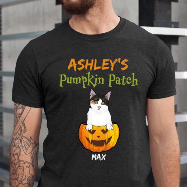 Personalized Cat Pumpkin Patch Halloween Custom Cat Shirt1