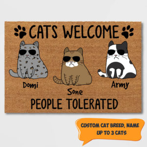 Personalized Cats Welcome People Tolerated Custom Cat Doormat