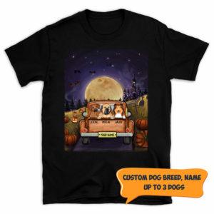 Personalized Dog On A Car Halloween Moon Custom Dog Shirt