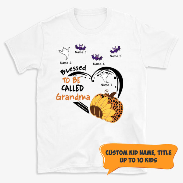 Personalized Fall Halloween Blessed To Be Called Grandma Pumpkin Custom Shirt