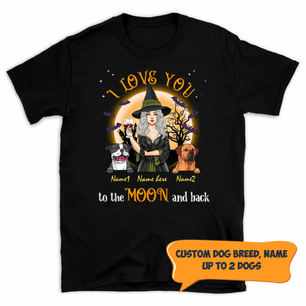 Personalized Fall Halloween I Love You To The Moon And Back Custom Dog Shirt 1