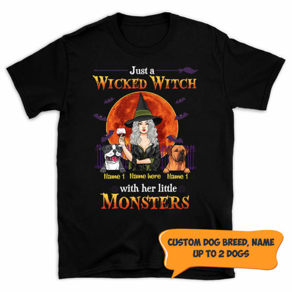 Personalized Fall Halloween Just A Wicked Witch With Her Little Monsters Custom Dog Shirt 1