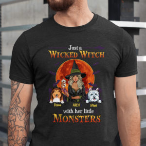 Personalized Fall Halloween Just A Wicked Witch With Her Little Monsters Custom Dog Shirt1
