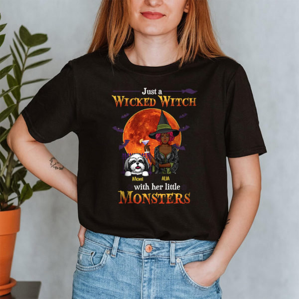 Personalized Fall Halloween Just A Wicked Witch With Her Little Monsters Custom Dog Shirt2