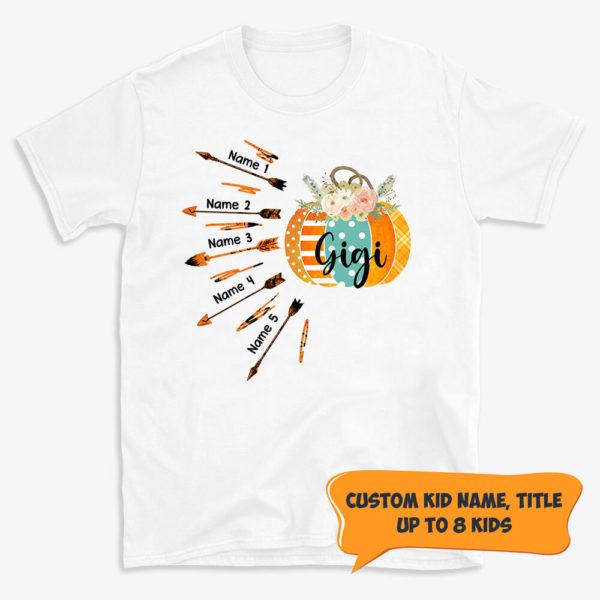 Personalized Fall Halloween Mom Grandma Custom Kid Name Shirt