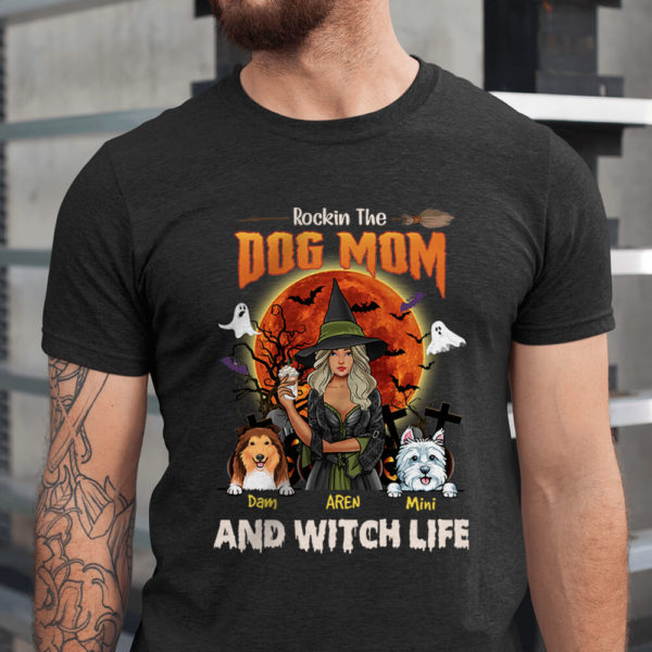 Personalized Fall Halloween Rockin The Dog Mom And Witch Life Custom Dog Shirt1