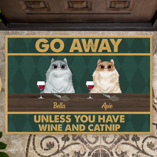 Personalized Go Away Unless You Have Wine And Catnip Custom Cat Doormat2 1