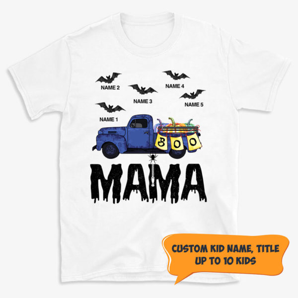 Personalized Grandma Car Halloween Grandkids Name Custom Shirt