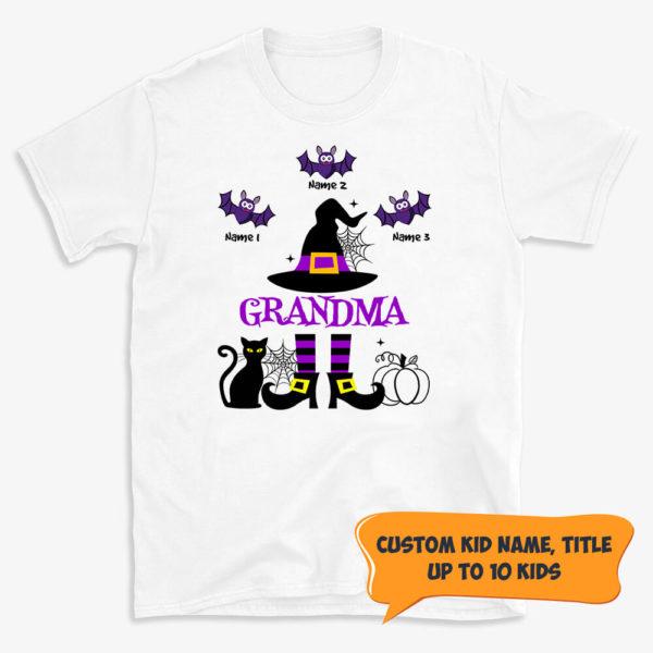 Personalized Grandma Of Kids Custom Name Witch Halloween Shirt