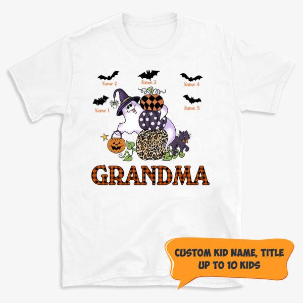 Personalized Grandma Pumpkin Bat Boo Halloween Custom Shirt
