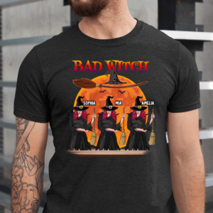 Personalized Halloween Bad Witch Broom Hat Custom Witch Men Shirt
