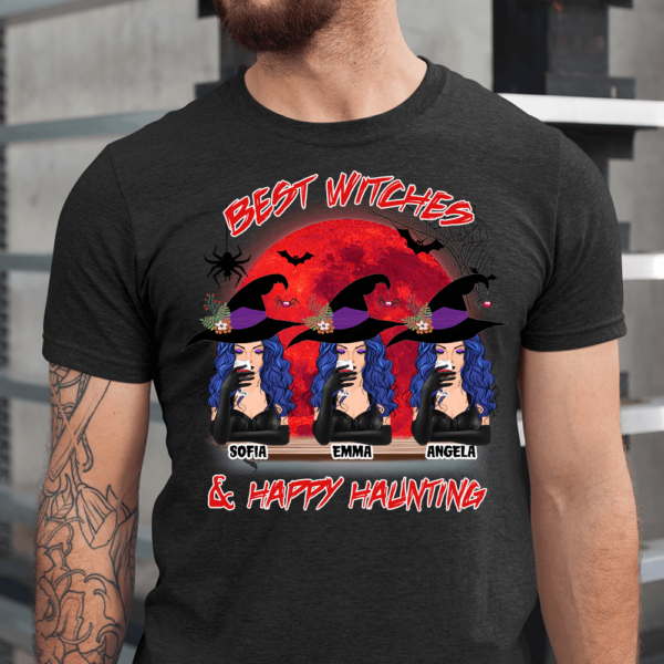 Personalized Halloween Best Witches & Happy Haunting Custom Witch Men Shirt