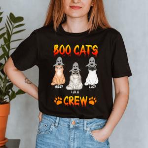Personalized Halloween Boo Cats Crew Paw Custom Cat Lady Shirt