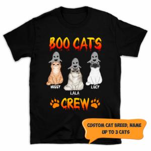 Personalized Halloween Boo Cats Crew Paw Custom Cat Shirt