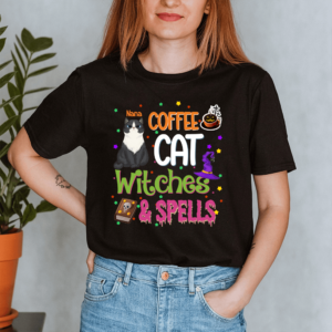 Personalized Halloween Coffee Cat Witches & Spells Custom Cat Lady Shirt