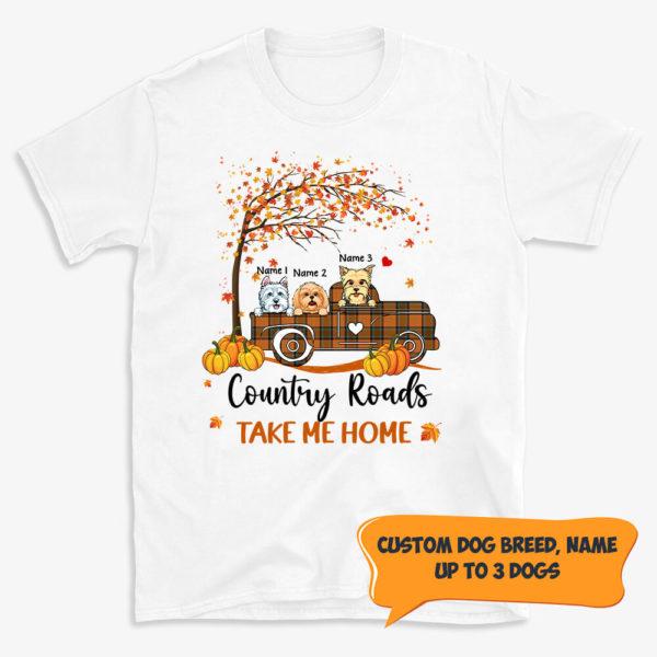 Personalized Halloween Fall Country Roads Take Me Home Custom Dog Shirt