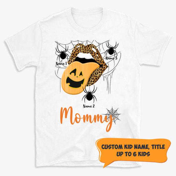 Personalized Halloween Fall Grandma Mom Leopard Lip Pumpkin Custom Shirt