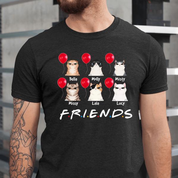 Personalized Halloween Friends Balloon Custom Cat Men Shirt