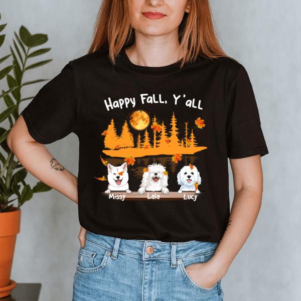 Personalized Halloween Happy Fall Y'all Custom Dog Lady Shirt