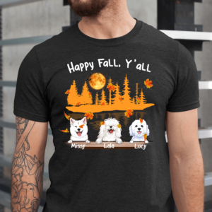 Personalized Halloween Happy Fall Y'all Custom Dog Men Shirt