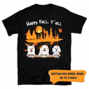 Personalized Halloween Happy Fall Y'all Custom Dog Shirt