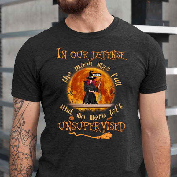 Personalized Halloween In Our Defense Moon Was Fun We Were Left Custom Witch Men Shirt