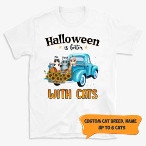 Personalized Halloween Is Better With Cats Custom Cat Halloween Shirt