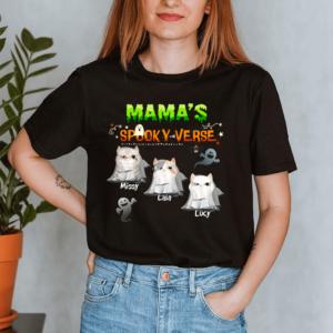 Personalized Halloween Mama's Spooky Verse Custom Cat Lady Shirt