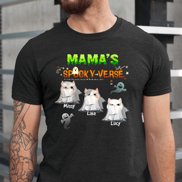 Personalized Halloween Mama's Spooky Verse Custom Cat Men Shirt