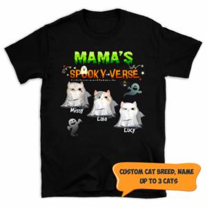 Personalized Halloween Mama's Spooky Verse Custom Cat Shirt