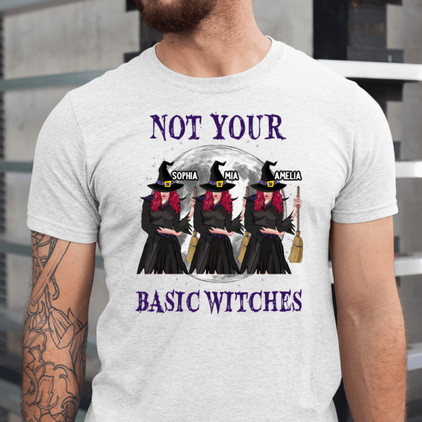 Personalized Halloween Not Your Basic Witch Custom Witch Men Shirt