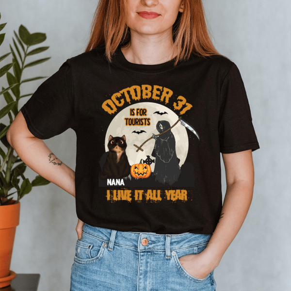 Personalized Halloween October 31 Is For Tourist I Live It All Year Custom Cat Lady Shirt