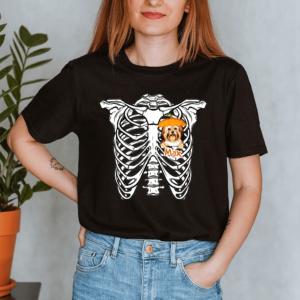 Personalized Halloween Skeleton Peeking Dog Pumpkin Hat Custom Dog Lady Shirt