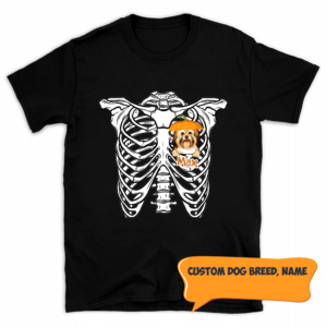 Personalized Halloween Skeleton Peeking Dog Pumpkin Hat Custom Dog Men Shirt