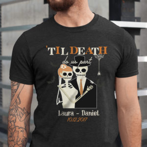 Personalized Halloween Skull Anniversary Couple Til Death Do Us Part Custom Shirt1