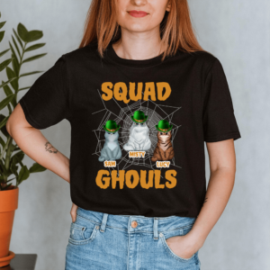 Personalized Halloween Squad Ghouls Custom Cat Lady Shirt