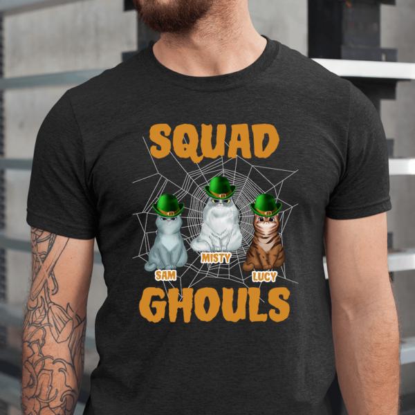 Personalized Halloween Squad Ghouls Custom Cat Men Shirt