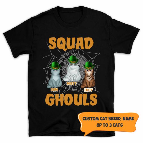Personalized Halloween Squad Ghouls Custom Cat Shirt