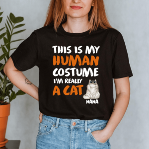 Personalized Halloween This Is My Human Costume I'm Really A Cat Custom Cat Lady Shirt