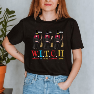 Personalized Halloween Witch Woman In Total Control Here Custom Witch Lady Shirt