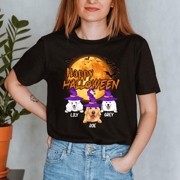Personalized Happy Halloween Bat Moon Custom Dog Lady Shirt