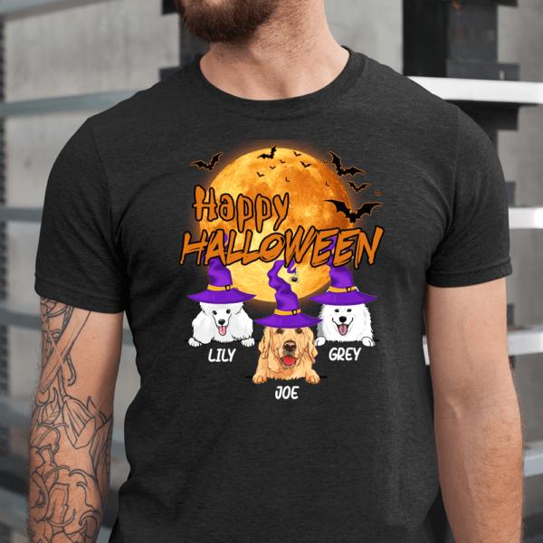 Personalized Happy Halloween Bat Moon Custom Dog Men Shirt