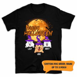 Personalized Happy Halloween Bat Moon Custom Dog Shirt